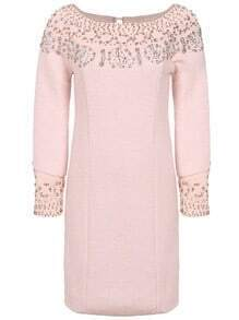 Pink Long Sleeve Beading Dress