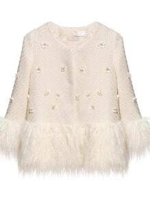 White Long Sleeve Applique Faux Fur Outerwear