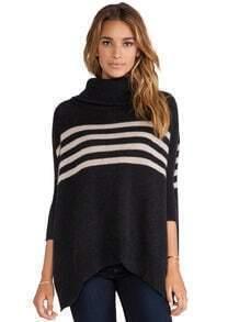 Black Long Sleeve Striped Sweater
