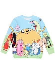 Blue Long Sleeve Cartoon Print Sweatshirt