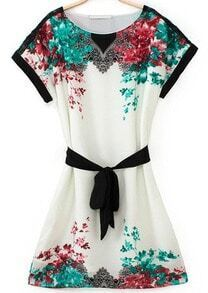White Short Sleeve Floral Belted Dress