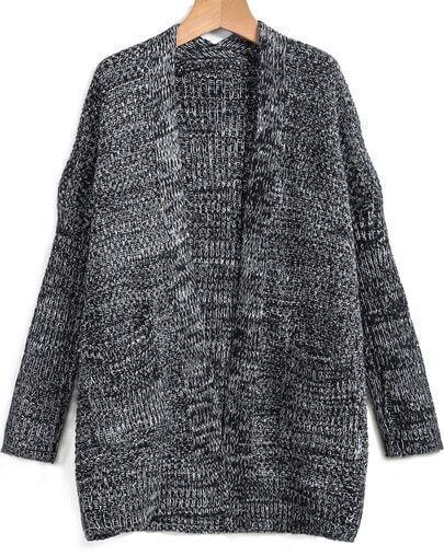 Cárdigan suelto bolsillo manga larga-negro