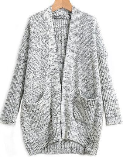 Grey Long Sleeve Pocket Loose Cardigan