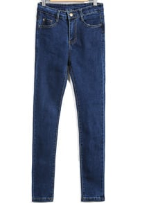 Blue High Waist Buttons Silm Denim Pant