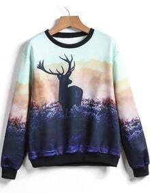 Purple Round Neck Deer Print Sweatshirt