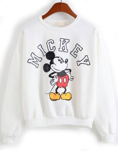 White Long Sleeve Mickey Print Sweatshirt