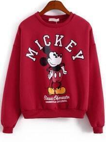Red Long Sleeve Mickey Print Sweatshirt