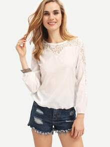 White Long Sleeve Lace Hollow Blouse