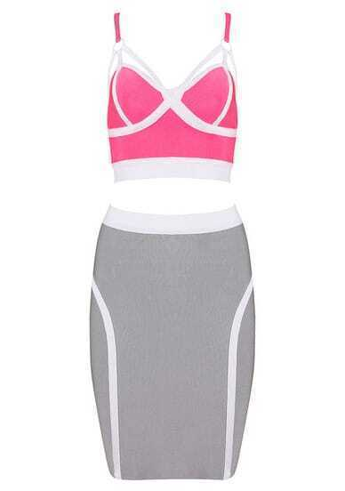 Pink Spaghetti Strap Vest With Bodycon Skirt