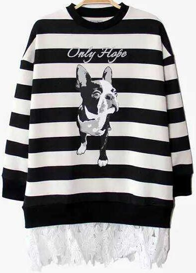 Black Striped Dog Animals Print Sweater with Lace Bottom