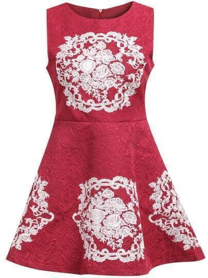 Red Sleeveless Vintage Print A Line Dress