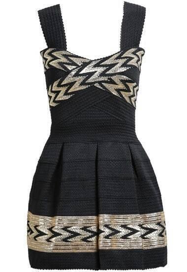 Black Spaghetti Strap Print Pleated Dress