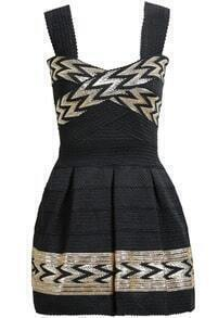 Black Spaghetti Strap Print Pleated Dress