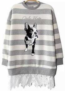 Grey Striped Dog Animals Print Sweater with Lace Bottom