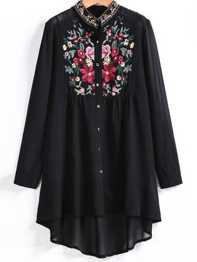 Асимметричная черная блуза с цветочным принтом