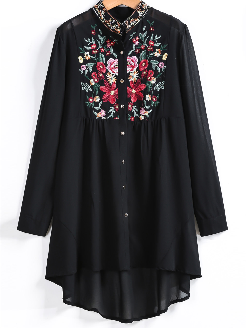 Фото Embroidered Button Up Dip Hem Blouse. Купить с доставкой
