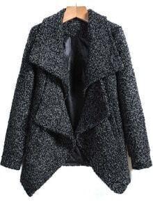 Grey Lapel Long Sleeve Woolen Coat