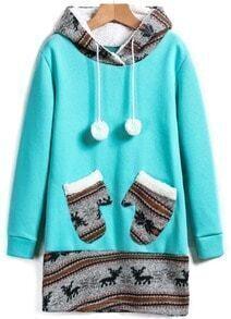 Green Hooded Deer Pockets Sweatshirt