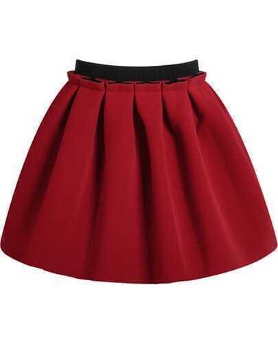 Red Zipper Flare Skirt