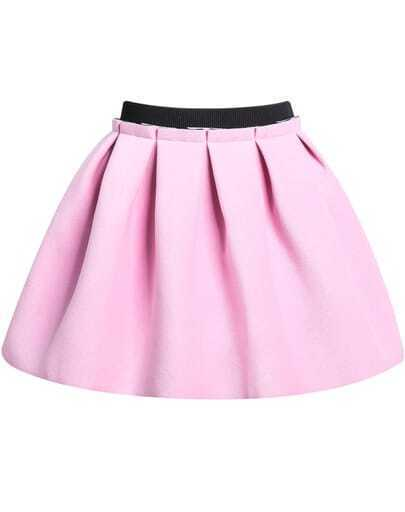 Pink Zipper Flare Skirt