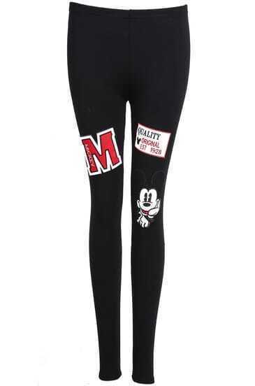 Black Slim Mickey Embroidered Leggings