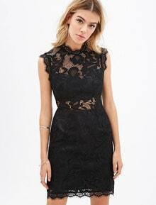 Black Sleeveless Crochet Lace Dress