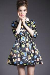Black Collars Lapel Owl Print Flare Dress