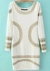 White Long Sleeve Bronzing Print Bodycon Dress