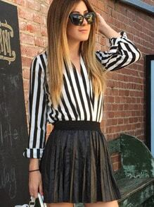 Black White V Neck Vertical Stripe Blouse