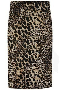 Leopard Slim Midi Skirt
