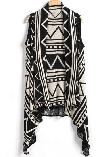 Black Sleeveless Geometric Print Cardigan