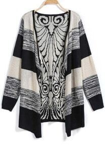 Black Long Sleeve Vintage Print Cardigan