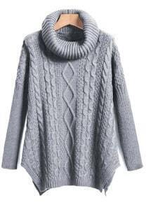 Grey High Neck High-Low Cable Knit Sweaterater