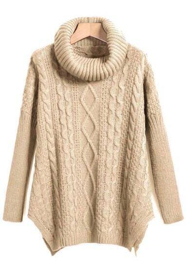Apricot High Neck High-Low Cable Knit Sweaterater