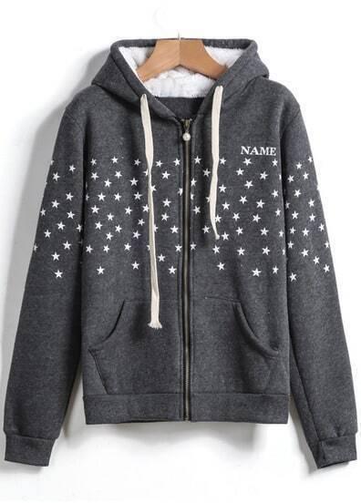 Grey Hooded Long Sleeve Zip Star Print Sweatshirt