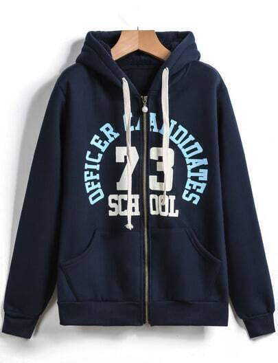 Navy Hooded Zip 73 Monogram Pattern Sweatshirt