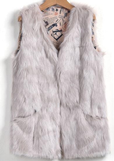 veste sans manche fausse fourrure -gris