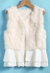Apricot Sleeveless Rabbit Fur Coat