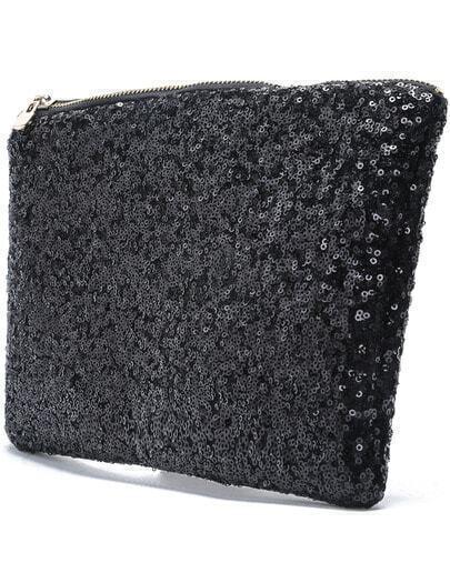 Black Sequined Clutch Bag