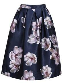 Purple Vintage Floral Pleated Skirt