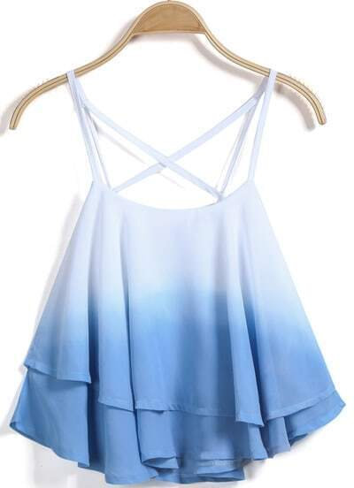 Blue Criss Cross Ruffle Cami Top