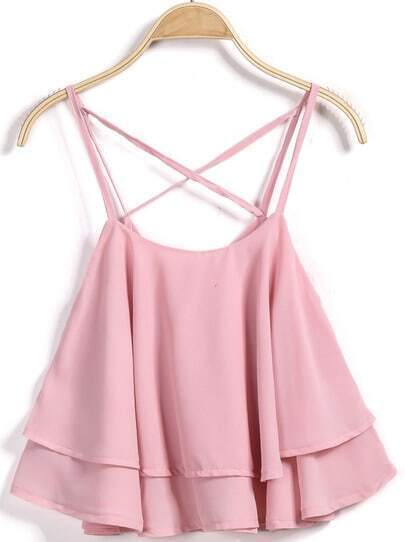 Pink Criss Cross Ruffle Tank Top
