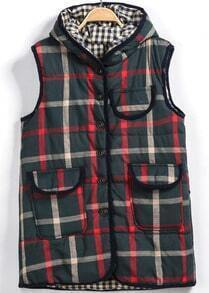Green Hooded Button Pocket Sleeveless Vest