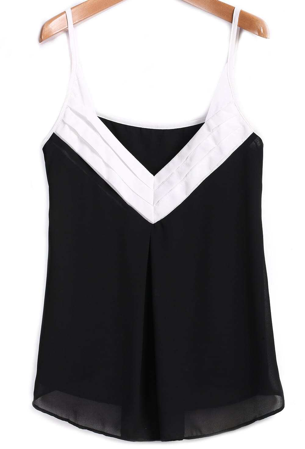 Black Spaghetti Strap Color Block Chiffon Cami Top