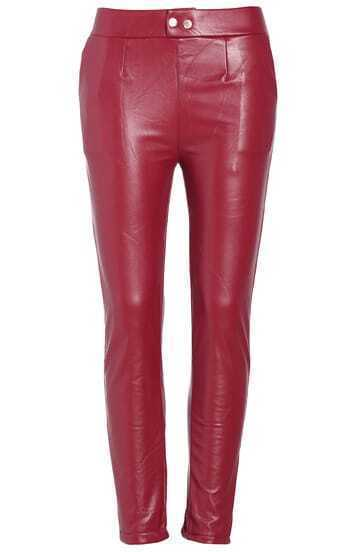 Red PU Slim Pant