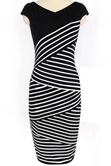 Black V Neck Striped Pencil Dress