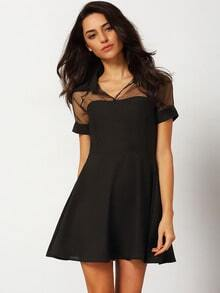 Black Peterpan Contrast Sheer Mesh Hollow Dress
