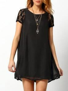Black Lace Short Sleeve Chiffon Petites Dress