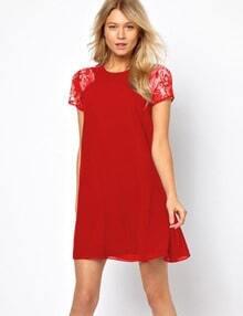 Red Lace Short Sleeve Chiffon Dress