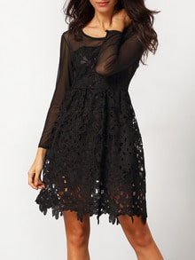 Black Long Sleeve Embroidered Lace Flare Dress